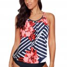 Red Floral Print Criss Cross Hollow out Tankini Swimwear