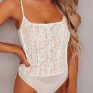 White Lace Mesh Patchwork High Cut Bodysuit