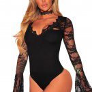 Black Lace Bell Sleeves Bodysuit