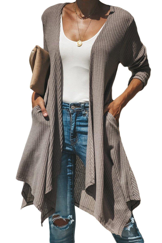 Mocha Handkerchief Hem Lightweight Cardigan