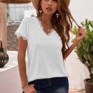White V Neck Lace Trim Short Sleeve Top