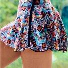 Multicolor Double-decker Tie dye High Waist Sports Skirt Shorts