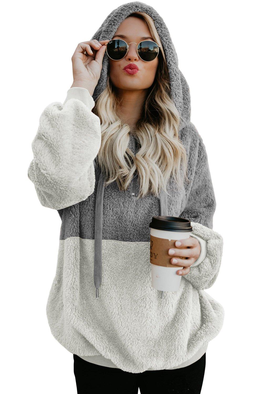 Gray White Colorblock Furry Hoodie