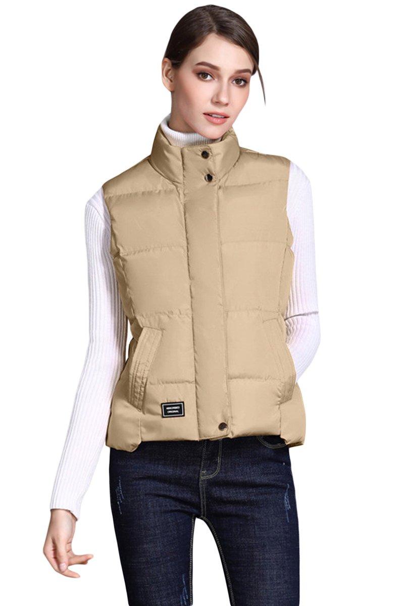 Khaki Sleeveless Female Cotton Jacket