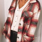 Red Turn down Neck Plaid Pocket Button Closure Coat