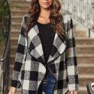 13  Black Plaid Long Sleeve Asymmetric Collar Open Front Coat
