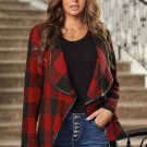 13  Red Plaid Long Sleeve Asymmetric Collar Open Front Coat