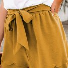 Khaki Scalloped Tie Front Shorts