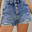 Multicolor Floral Splicing Button Fly Distressed Denim Shorts