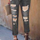 Black Fading Distressed Holes Crop Jeans
