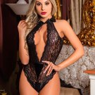 Black Hollow Out Backless Lace Teddy