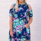 Blue Floral Plus Size Cold Shoulder Ruffle Pocket Mini Dress