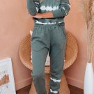 Army Green Tie dye Stripes Pullover Top and Pants Lounge Set