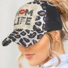 MOM LIFE Leopard Mesh Splicing Hollow Out Baseball Cap