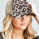 Distressed Leopard Mesh Back Ponytail Baseball Cap
