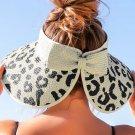 Apricot Messy Bun Leopard Wide Brim Straw Beach Hat