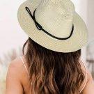 Beige Adjustale Foldable Flat Brim Straw Hat