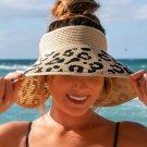 Brown Messy Bun Leopard Wide Brim Straw Beach Hat