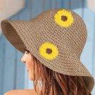Beige Sunflower Pattern Folded Hand-knitted Straw Hat