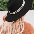 Black Wide Brim Gold Chained Fedora Hat