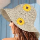 Brown Sunflower Pattern Folded Hand-knitted Straw Hat