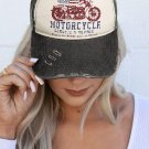 American Flag Motorcycle Letters Baseball Cap