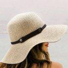 Beige Foldable Wide Brim Summer Straw Hat