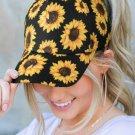 Sunflower Print Ponytail Baseball Cap