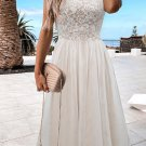 White Sleeveless Crochet Lace Mesh Lined Evening Dress