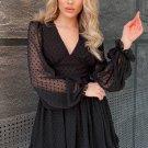 Black V Neck Lantern Sleeve Swiss Dot Mini Dress