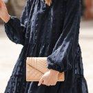 Dark Blue Swiss Dot Mesh Long Puff Sleeve Mini Dress