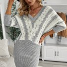 Gray Colorblock Hollow Out Sweater Dress
