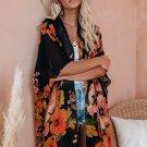 Black Kimono Sleeve Floral Print Graceful Cover Up