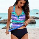 Wave Stripe Racerback Tankini Swimsuit
