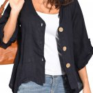 Dark Blue Roll Tab Sleeve Button Front Casual Shirt