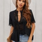 Black Crochet Hollow out Lace Splicing Short Sleeve Top