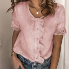 Pink Ruffles Button Short Sleeve Shirt with Lace Detail