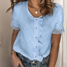 Sky Blue Ruffles Button Short Sleeve Shirt with Lace Detail