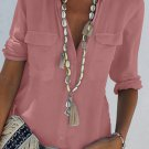 Pink Turn-down Collar Pocketed Button Shirt