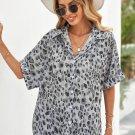 Gray Leopard Print Button Roll up Sleeve Shirt