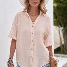 Beige Loose V Neck Button Short Sleeve Shirt