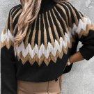 Black Stand Collar Geometric Pattern Pullover Sweater