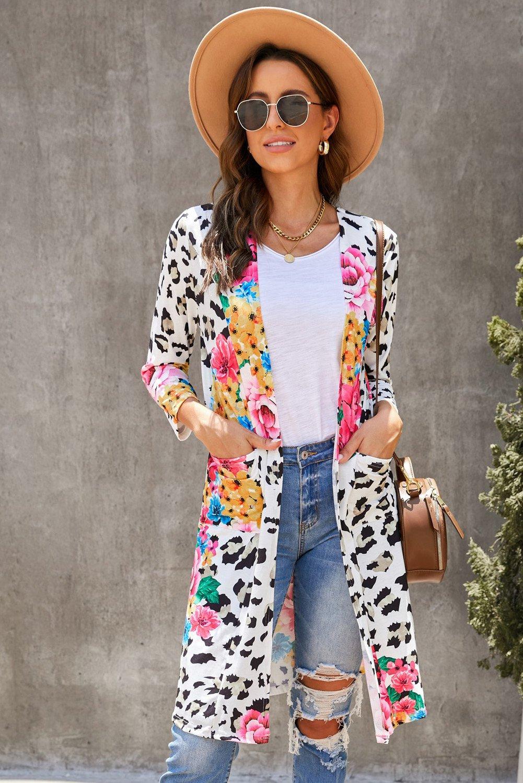 Leopard Floral Print Cardigan