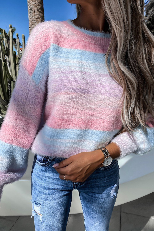 Pink Colorblock Tie dye Mohair Sweater