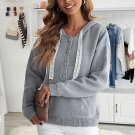 Gray Kangaroo Pocket Button Lace Drawstring Hooded Pullover Sweater