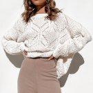 White Crewneck Balloon Sleeve Textured Knit Sweater