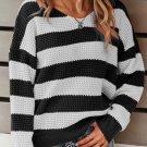 Black Striped Colorblock Knit Sweater
