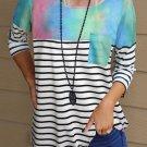 Stripe Tie dyed Print Pocket 3/4 Sleeve Top