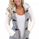Multicolour Cable Knit Hooded Sweater Vest