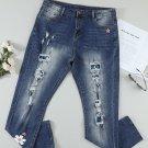 Sky Blue Floral Leopard Print Patchwork Distressed High Waist Jeans